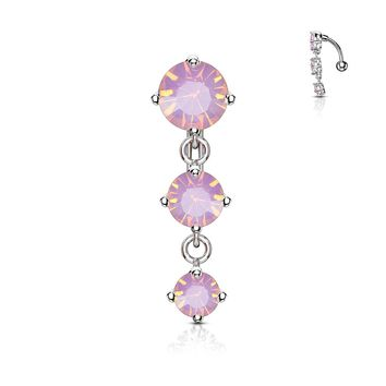 Opalite Drop Belly Button Ring 14G (1.6mm)
