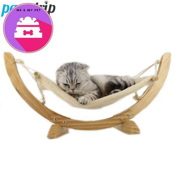 Fashion Wood Cat Hammock Soft Fleece Cotton Bed