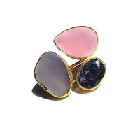 Free form Chalcedony, Sapphire Ring