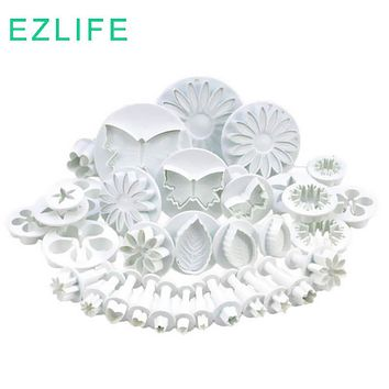33Pc Sugar craft Cake Set Flower Pattern Cupcake Decorating Fondant Icing Embossing Plunger Cutters Kitchen Tools CT0145