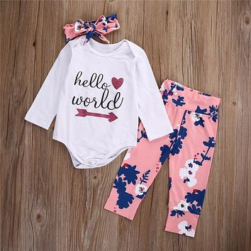 Spring clothes baby girls 3 pieces girls casual clothing set children home wear pajamas print set