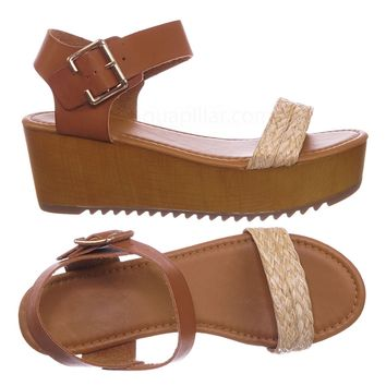 Astro Retro Clog Faux Wooden Platform Wedge Sandal - Women Braided Flatform Shoe