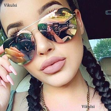 2017 Aviator Sunglasses Lunette Femme Women Luxury Brand Sunglasses Ladies Mirror Color Lens Design Sun Glasses Female Sunglases
