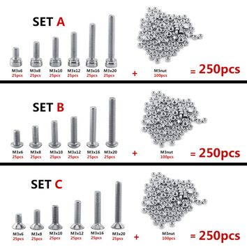 250pc set M3 Cap Button Flat Head A2 Stainless Steel Hex Socket Screws Bolt With Hex Nuts Assortment Kit