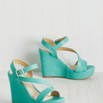 Reminisced Opportunity Wedge in Seaglass | Mod Retro Vintage Heels | ModCloth.com