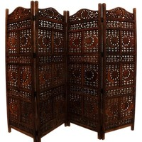Hand Carved Sun And Moon Design Foldable 4-Panel Room Divider- Benzara