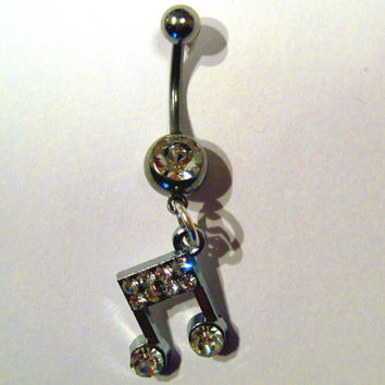 Belly Button Ring Barbell Clear Crystal Silver Tone Musical Note