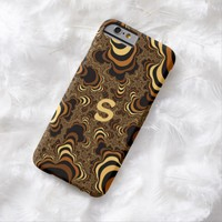 Cool brown stripped fractal. Monogram. Barely There iPhone 6 Case