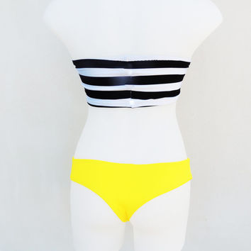 Nautical sexy cute Black white stripe Bandeau strapless top Bikini swimwear Cheeky Brazilian thong neon panties Sunshine yellow Fully lined