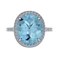 Oval Aquamarine Engagement Ring Diamond Wedding Ring 14K White Gold Ring with 12x10mm Oval Aquamarine Center  - V1095