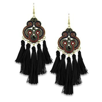 Black Beads Tassel Earring