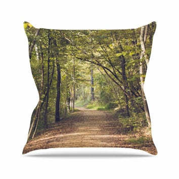 "Ann Barnes ""Forest Light"" Nature Photography Trees Green Throw Pillow"