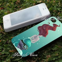 Little mermaid Ariel painting Customized cellular case for iPhone 4/4S, iPhone 5/5S/5C, Samsung Galaxy S3 and S4, ipod 4 and ipod 5