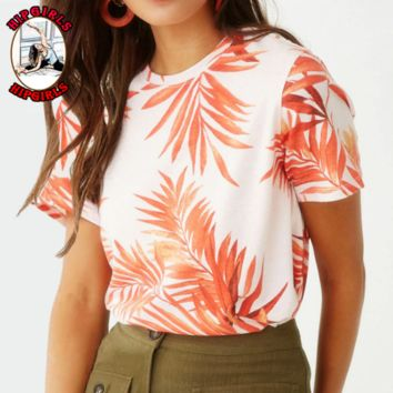 New fashion more leaf print top women
