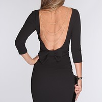 Black Textured Plunging Back Sexy Dress