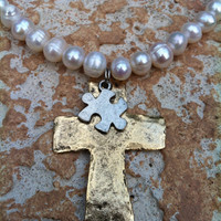 Sale - Freshwater Pearl Necklace with Pewter Gold Hammered Cross with Silver Puzzle Piece Autism Pendant Charm