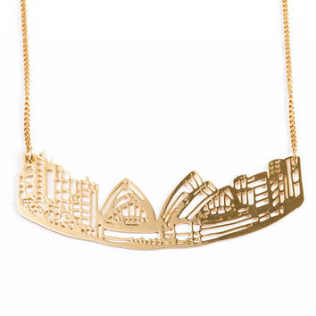Gold Sydney Cityscape Necklace, Austrelian Jewelry, City Skyline, Statement Necklace, Architectural Jewelry