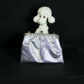 Vintage 60s Petite Silver Handbag w Rhinestones Clutch Small Evening