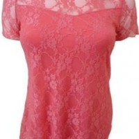 Women Plus Size Short Sleeve Top Womens Stretch Fit Lace Floral Dress (16, Coral)