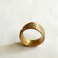 Bronze handcrafted organic unisex ring with texture by metalartistry