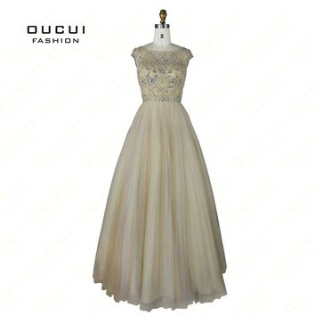 Real Photos Tulle Fabric cap Sleeve Beading Hand work Boat Neck Long Prom Dress Evening OL102445