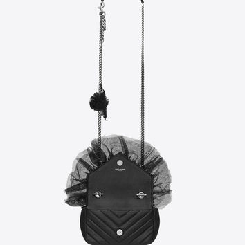 Saint Laurent Classic Baby MONOGRAM SAINT LAURENT Punk Chain Bag In Black Matelassé Leather And Tulle | ysl.com