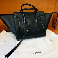 Authentic Celine Phantom Women Black Tote Leather Bag Prestine Condition