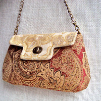 Victorian Inspired Purse - Party Bag - White Burgundy Clutch