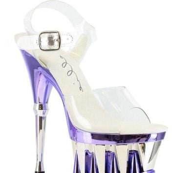 Ellie Shoes Clarity Clear Vamp Ankle Strap Detailed 2 Inch Platform 6 Inch Heel (12,Blue)