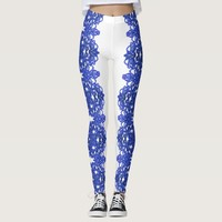 Laced pattern in the style blue-chinoiserie leggings