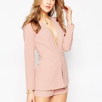 ASOS Plunge Playsuit with Peplum Detail at asos.com