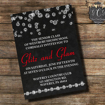 Prom Invitation, Prom Invitations, Prom Invite, Prom Invites, Glitz & Glam, Diamond Invitations, High School Prom, High School Dance