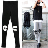 East Knitting Free Shipping A63 2013 NEW  Women Knee Skull printed leggings womans fashion Pants black/grey