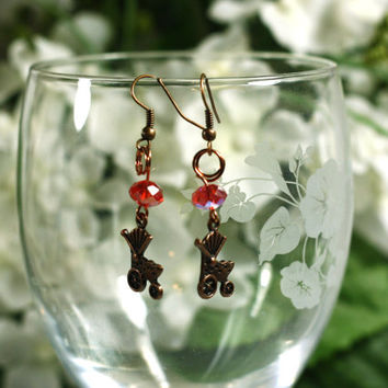 Baby Carriage New Mom Earrings - Copper Baby Carriage Charm earrings with pink crystal beads