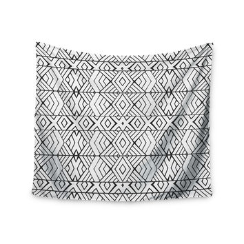 "Pom Graphic Design ""Tribal Expression"" Black White Wall Tapestry"