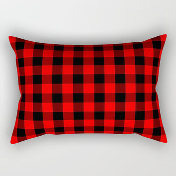 Classic Red and Black Buffalo Check Plaid Tartan Rectangular Pillow by podartist