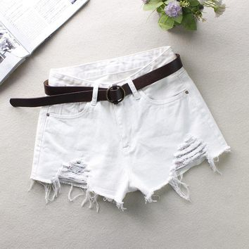 2018 Fashion Women Summer High Waist Embroidery Denim Short Ripped Hole Jeans Short Casual Short Shorts Size S-XL