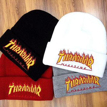 Thrarhar Woman Men Fashion Flame Embroidery Beanies Winter Knit Hat Cap