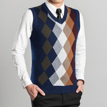 wool sweater vest new argyle patterns autumn winter mens casual cashmere men sleeveless knit vest male clothing