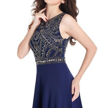 Long Prom Dresses A Line Scoop Neckline Luxury Crystal Beaded Navy Blue pink Chiffon New Arrival Formal Gown Party Dresses