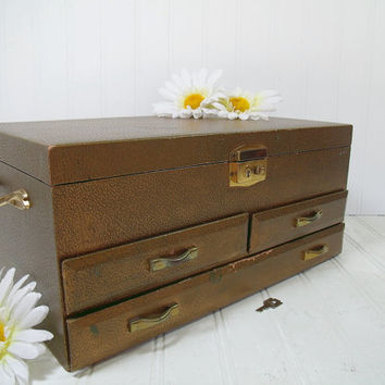 Vintage Gold Wooden Jewelry Chest - Retro Oversized 4 Tiered Display Case with Mirror & Original Key - Crafter / Artisan Tool / Supply Box