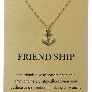 1pc Wish Card Fashion my Anchor & Love Charms Links Chains Necklace Pendant Gold Silver Plated Jewelry Individually Meaningful
