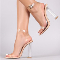 Fashion crystal with a word buckle sandals female high heels sexy open toe Transparent shoes