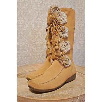 Suede Lace-Up  Faux Fur Boots | 10