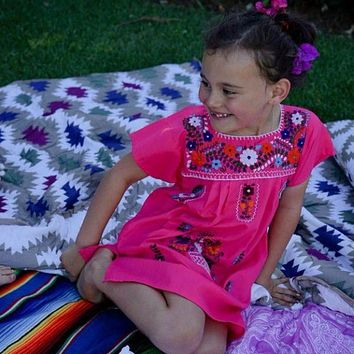 Mexican Dress for Girls Hot Pink