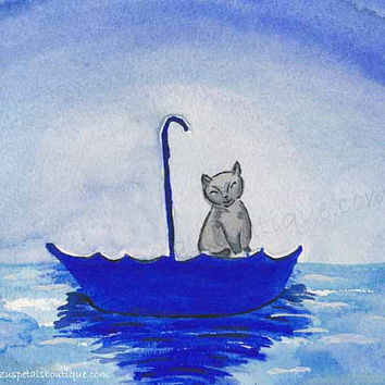 Cat Art PRINT Moonlight Ride Blue Umbrella at Sea Animal Art Painting Original Watercolor Painting - 11X14""