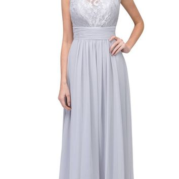 Silver Floor Length Formal Dress Lace Up Back Sleeveless