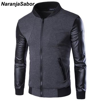 Trendy NaranjaSabor Spring Men's Jackets Bomber Jacket Patchwork Leather Coats Men Zipper Outerwear Motorcycle Jackets Tracksuit 3XL AT_94_13