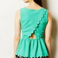 Clovelly Peplum Top by Anthropologie Green L Tops