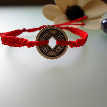Feng Shui coin macrame bracelet. Friendship Bracelet. Red waxed cord and Lucky Coin Bracelet